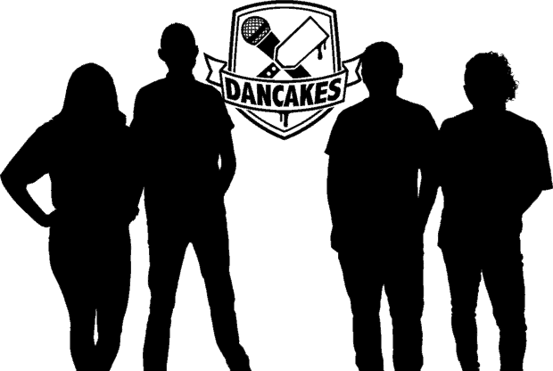 Dancakes logo with a silhouette of the Dancakes Family